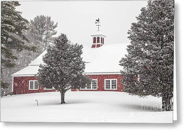 Red Barn In Winter Greeting Cards - Harding Road Red Barn in the Snow Greeting Card by Benjamin Williamson