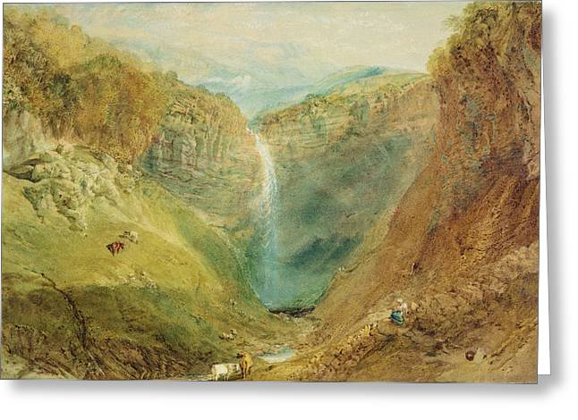 Waterfall Greeting Cards - Hardraw Fall, Yorkshire, C.1820 Greeting Card by Joseph Mallord William Turner