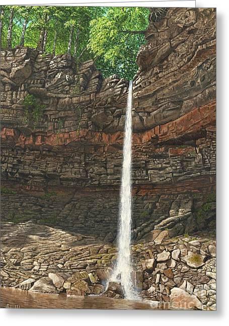 Waterfall Digital Art Greeting Cards - Hardraw Force Greeting Card by MGL Meiklejohn Graphics Licensing
