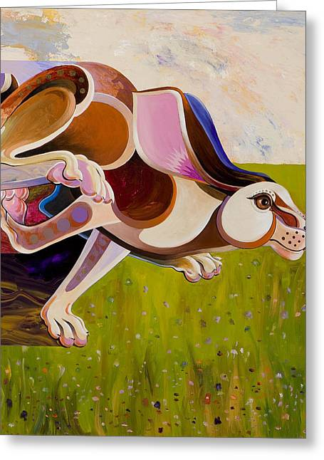 Fauvist Wildlife Art Greeting Cards - Hare Borne Greeting Card by Bob Coonts