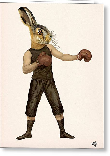 Hare Greeting Cards - Hare Boxing Hare Greeting Card by Kelly McLaughlan