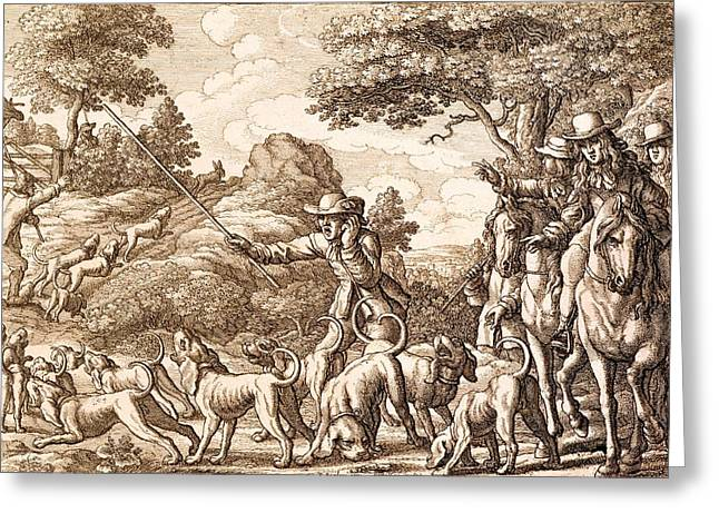 Hunt Paintings Greeting Cards - Hare Hunting, Engraved By Wenceslaus Greeting Card by Francis Barlow