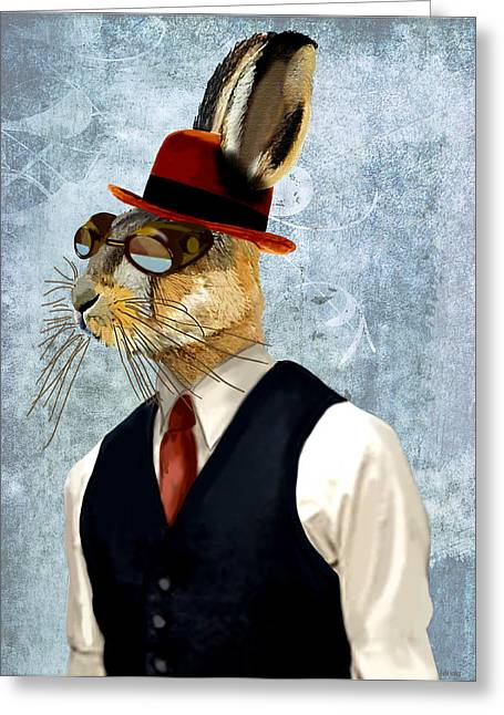 Hare Greeting Cards - Hare in Waist Coat Greeting Card by Kelly McLaughlan