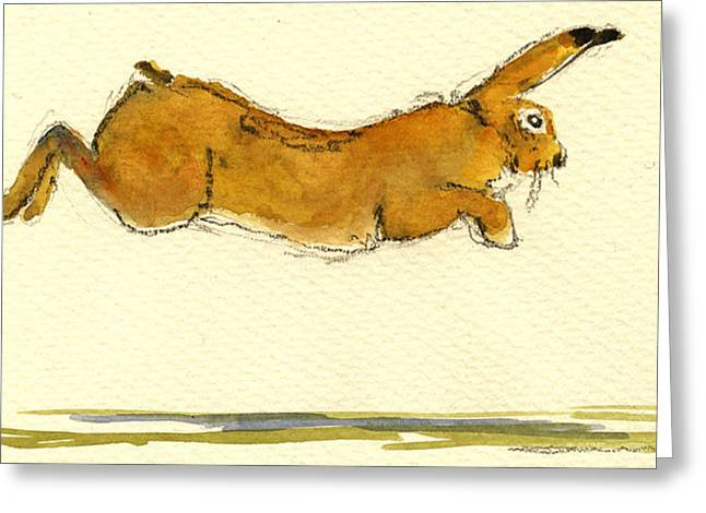 Hare Greeting Cards - Hare jumping Greeting Card by Juan  Bosco