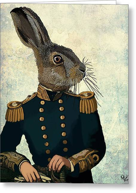 Hare Greeting Cards - Hare Lieutenant Hare Greeting Card by Kelly McLaughlan