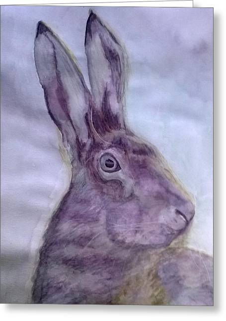 March Hare Paintings Greeting Cards - Hare Greeting Card by Natalie Holden