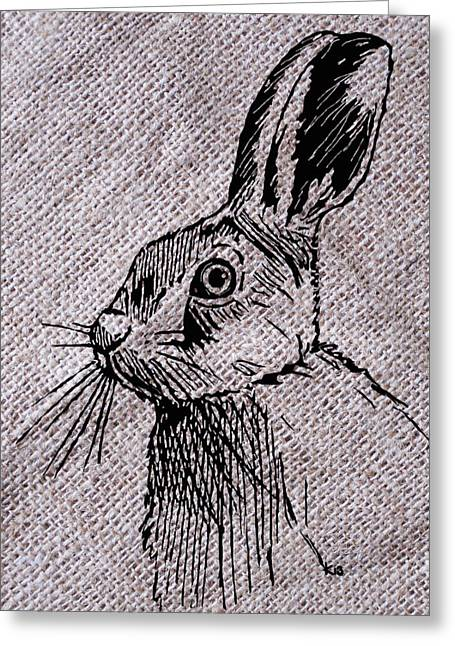 Hare Greeting Cards - Hare on burlap Greeting Card by Konni Jensen