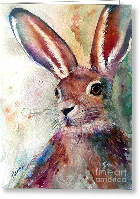 Hare On The Loose Greeting Card by Patricia Pushaw