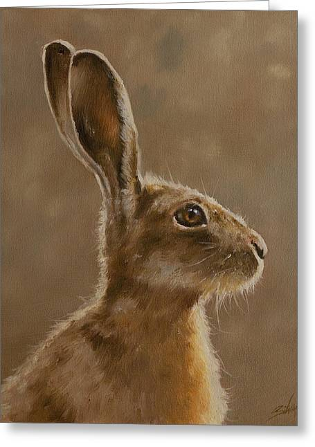 Hare Greeting Cards - Hare Portrait I Greeting Card by John Silver