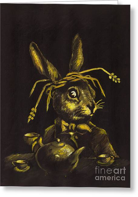 March Hare Greeting Cards - Hare Greeting Card by Suzette Broad