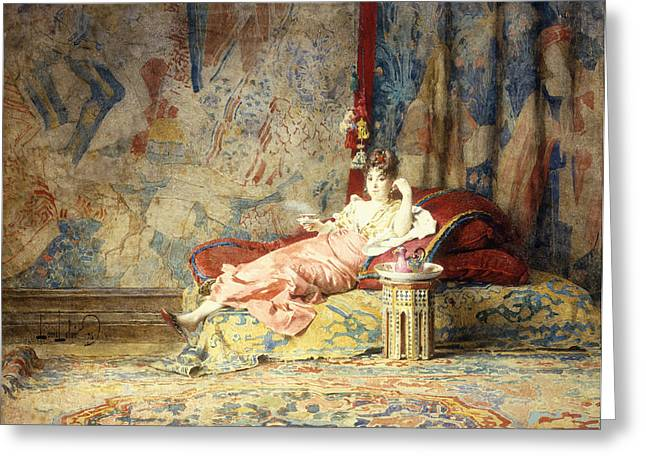 Harem Beauty Greeting Card by Alexandre Louis Leloir