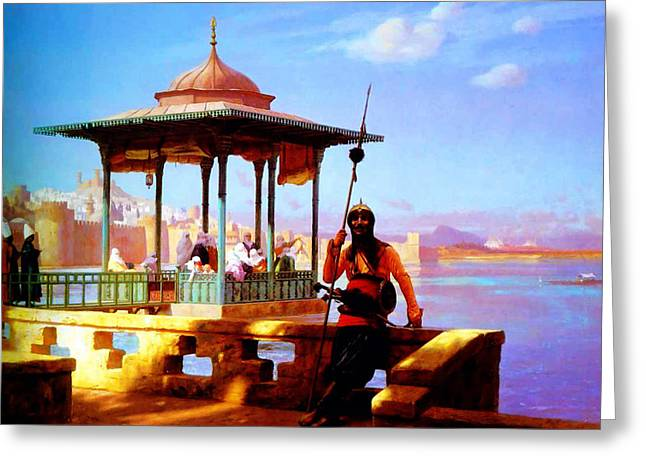High Society Mixed Media Greeting Cards - Harem in the Kiosk The Guardian of the Seraglio 1870 Greeting Card by Jean Leon Gerome