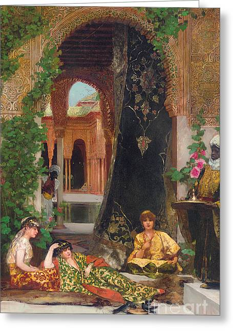 Seraglio Paintings Greeting Cards - Harem Women Greeting Card by Jean Joseph Benjamin Constant