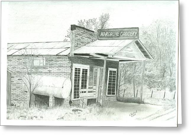 Bates Drawings Greeting Cards - Hargrove Grocery Greeting Card by Larry Hartfield