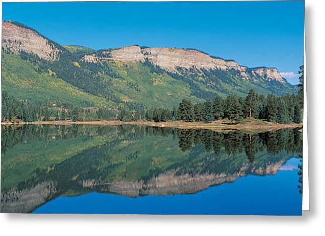 Conifer Tree Greeting Cards - Hariland Lake & Hermosa Cliffs Durango Greeting Card by Panoramic Images