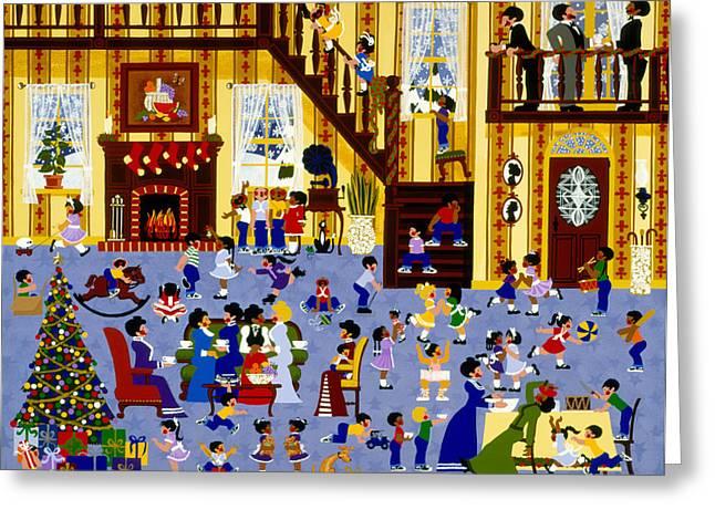 Festivities Paintings Greeting Cards - Hark Harold Angel Sings Greeting Card by Merry  Kohn Buvia