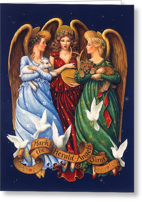Lion Lamb Greeting Cards - Hark the Herald Angels Sing Greeting Card by Lynn Bywaters