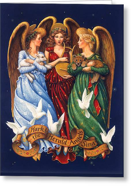 Hark The Herald Angels Sing Greeting Card by Lynn Bywaters