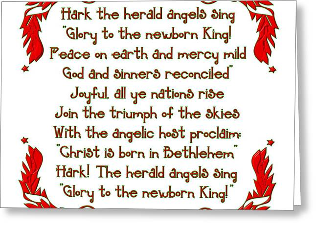 The Winter Feast Greeting Cards - Hark the herald Angels sing Greeting Card by Rose Santuci-Sofranko