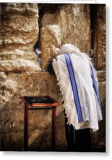 Prayer Shawl Greeting Cards - Harken Unto My Prayer O Lord Western Wall Jerusalem Greeting Card by Mark Fuller