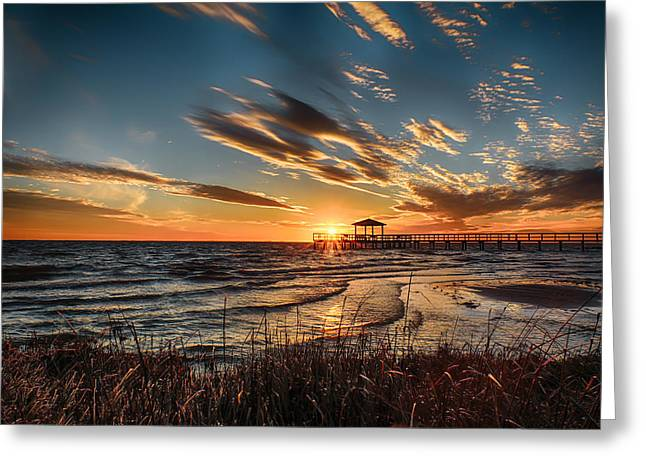 Harkers Greeting Cards - Harkers Island Sunset Greeting Card by Jody Merritt