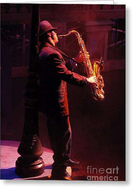 Saxaphone Greeting Cards - Sax In The City 1 Greeting Card by Bob Christopher