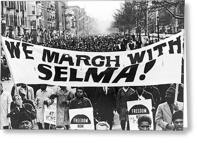 Selma Greeting Cards - Harlem Supports Selma Greeting Card by Stanley Wolfson