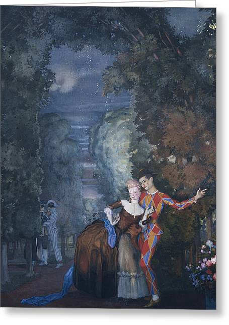 Harlequin And A Lady Greeting Card by Konstantin Andreevic Somov