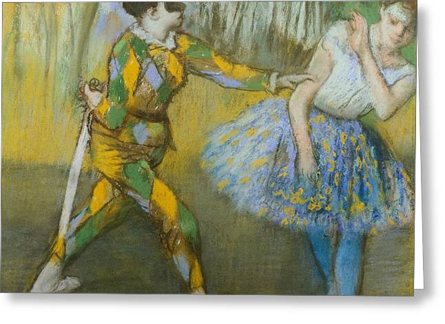 Signature Pastels Greeting Cards - Harlequin and Columbine Greeting Card by Edgar Degas