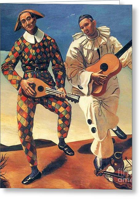 Jester Greeting Cards - Harlequin and Pierrot Greeting Card by Pg Reproductions