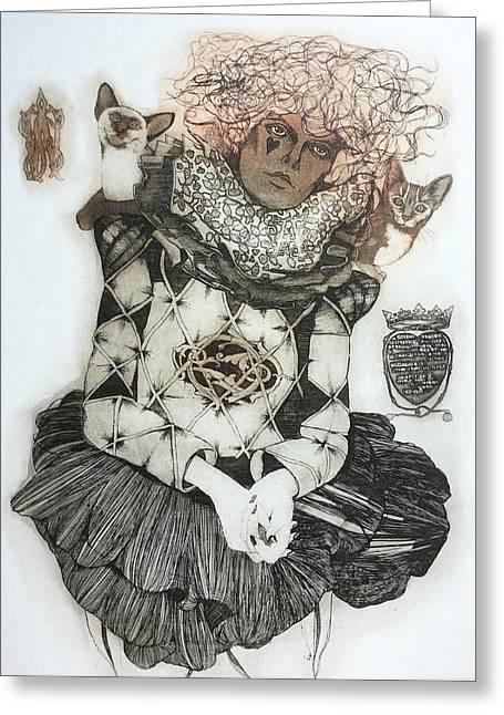 Hand Pulled Print Greeting Cards - Harlequin Greeting Card by Grazvyda Andrijauskaite
