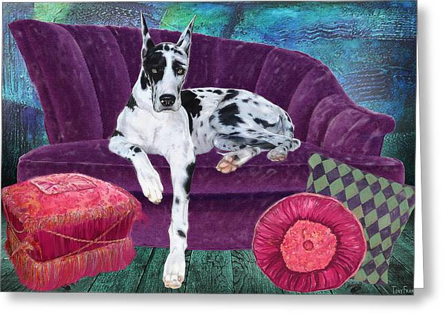 Dog On Couch Greeting Cards - Harlequin Haven Greeting Card by Tony Franza