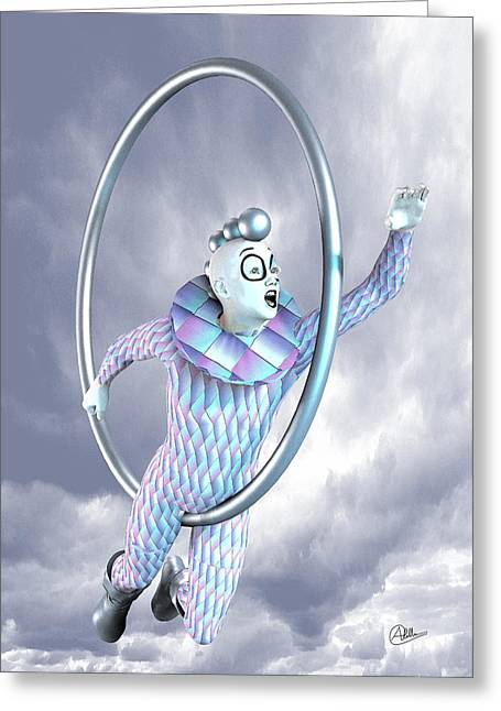 Pierrot Greeting Cards - Harlequin playing Greeting Card by Joaquin Abella