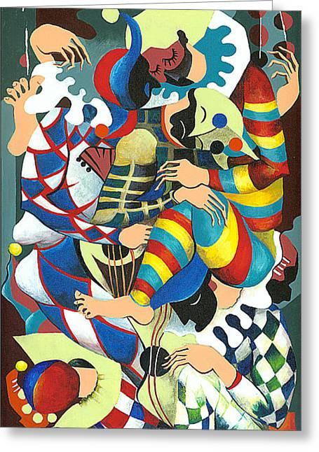 Harlequins Acting Weird - Why?... Greeting Card by Elisabeta Hermann