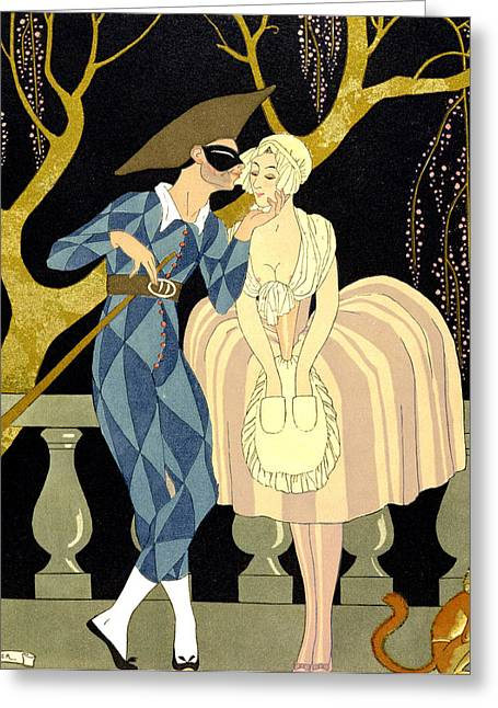Lovers Greeting Cards - Harlequins Kiss Greeting Card by Georges Barbier