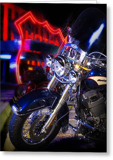 Motorcycles Pyrography Greeting Cards - Harley at The Route 66 Casino Greeting Card by Gary Warnimont