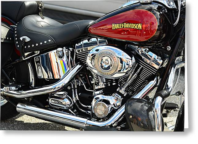 Made In The Usa Digital Greeting Cards - Harley Chrome Greeting Card by Laura  Fasulo