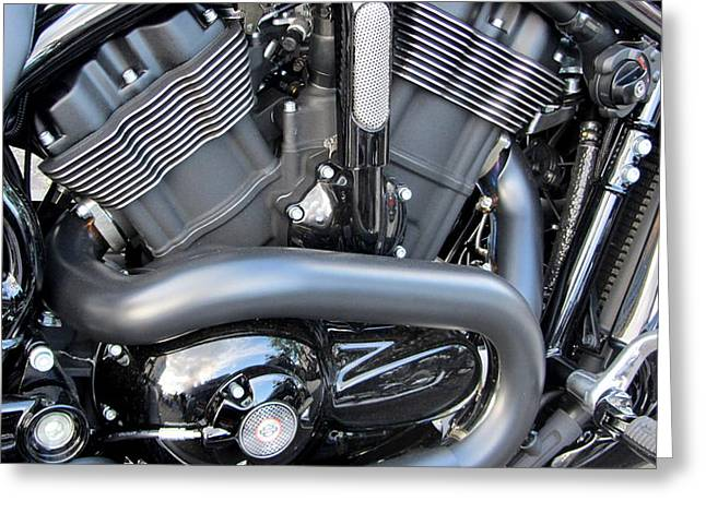 Harley Close-up Engine Close-Up 1 Greeting Card by Anita Burgermeister
