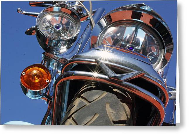 Motorcycles Pyrography Greeting Cards - Harley Close Up Greeting Card by Shoal Hollingsworth