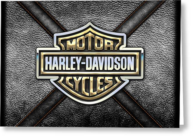 Crest Greeting Cards - Harley-Davidson 3D Badge-Logo in Gold on Black Leather Greeting Card by Serge Averbukh