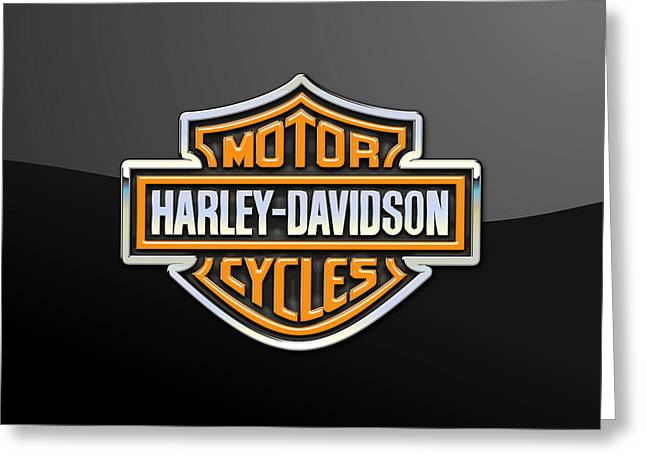 Heraldry Greeting Cards - Harley-Davidson 3D Badge-Logo on Black Greeting Card by Serge Averbukh