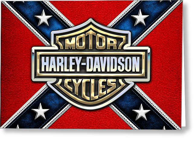 D Greeting Cards - Harley-Davidson 3D Badge-Logo on Leather Confederate Flag Greeting Card by Serge Averbukh