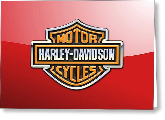 Heraldry Greeting Cards - Harley-Davidson 3D Badge-Logo on Red Greeting Card by Serge Averbukh