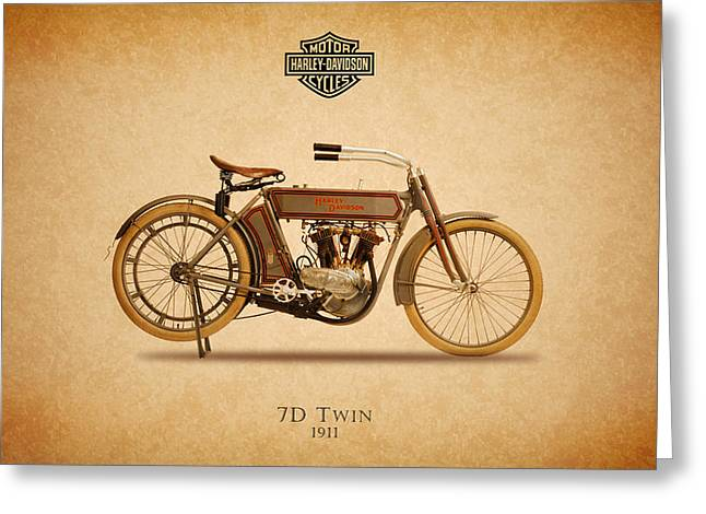 Harley Davidson Greeting Cards - Harley-Davidson 7D 1911 Greeting Card by Mark Rogan