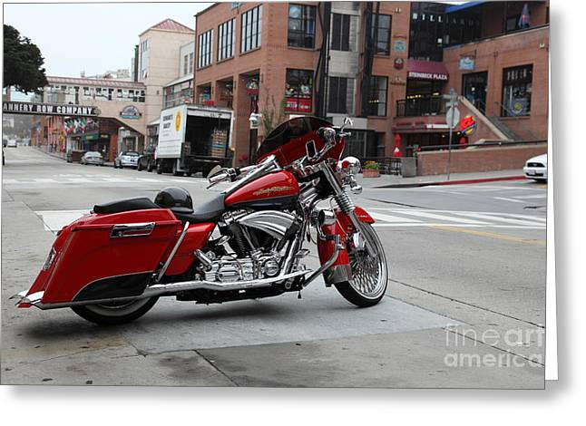 Cannery Row Greeting Cards - Harley Davidson At Monterey Cannery Row California 5D24765 Greeting Card by Wingsdomain Art and Photography