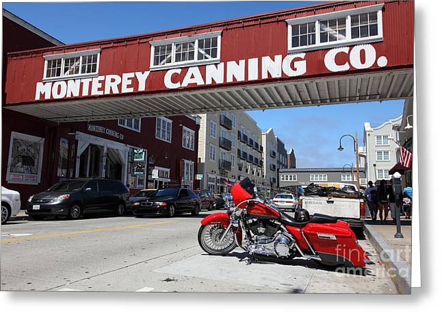 Cannery Row Greeting Cards - Harley Davidson At Monterey Cannery Row California 5D25024 Greeting Card by Wingsdomain Art and Photography