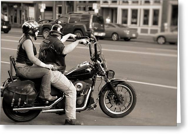 Harley Davidson Black And White Greeting Card by Dan Sproul