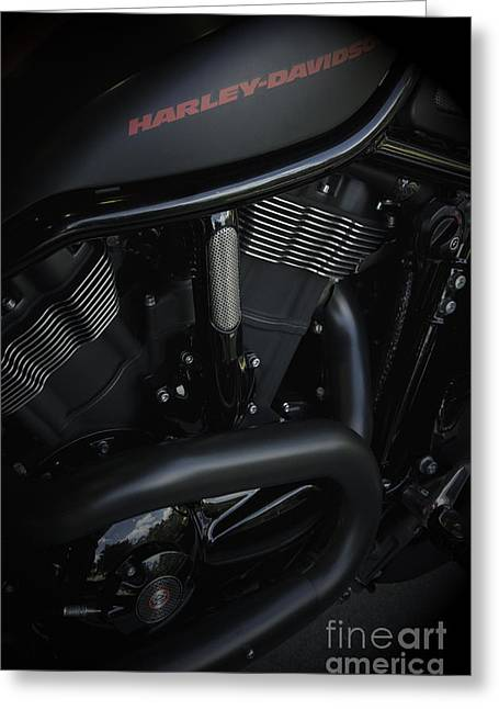 Vineesh Edakkara Greeting Cards - Harley Davidson Black Greeting Card by Vineesh Edakkara