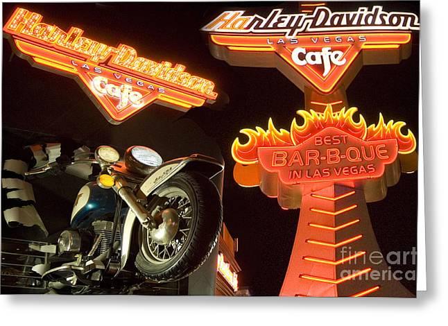 Harley Davidson Cafe Greeting Card by Bob Christopher