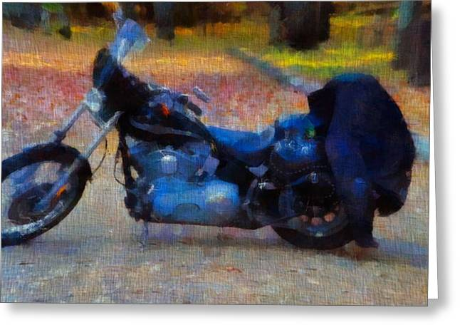 Chrome Mixed Media Greeting Cards - Harley Davidson Canvas Greeting Card by Dan Sproul